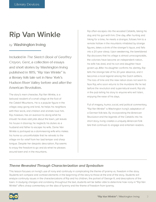 character analysis of dame van winkle What significance does irving attribute to dame van  characters rip van winkle :  in rip van winkle, dame van winkle created the trope of.