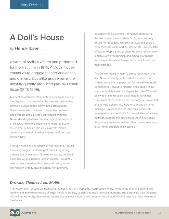 A Dolls House Literary Devices Lesson Plan Owl Eyes