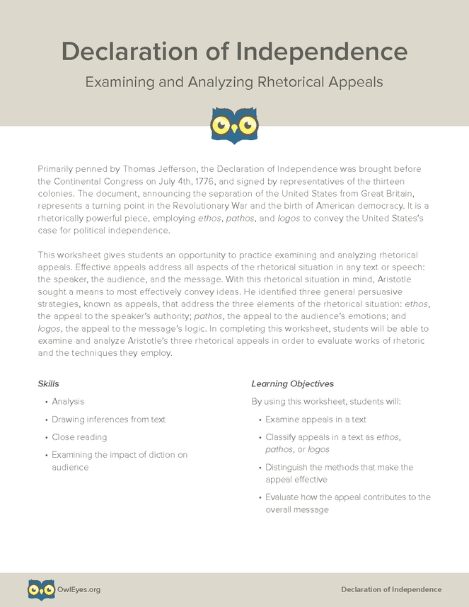 The Declaration Of Independence Rhetorical Appeals Activity Owl Eyes