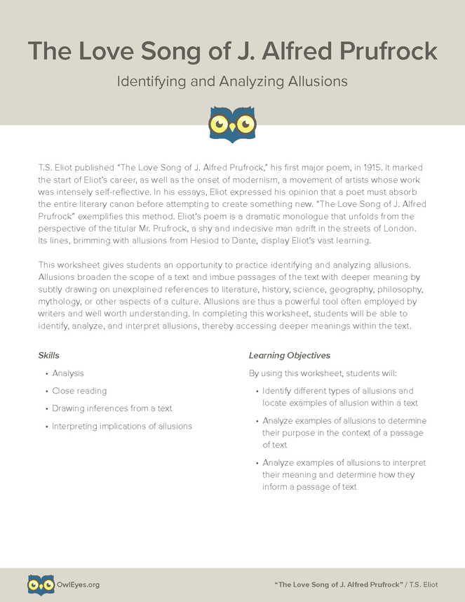 The Love Song Of J Alfred Prufrock Allusion Activity Owl Eyes