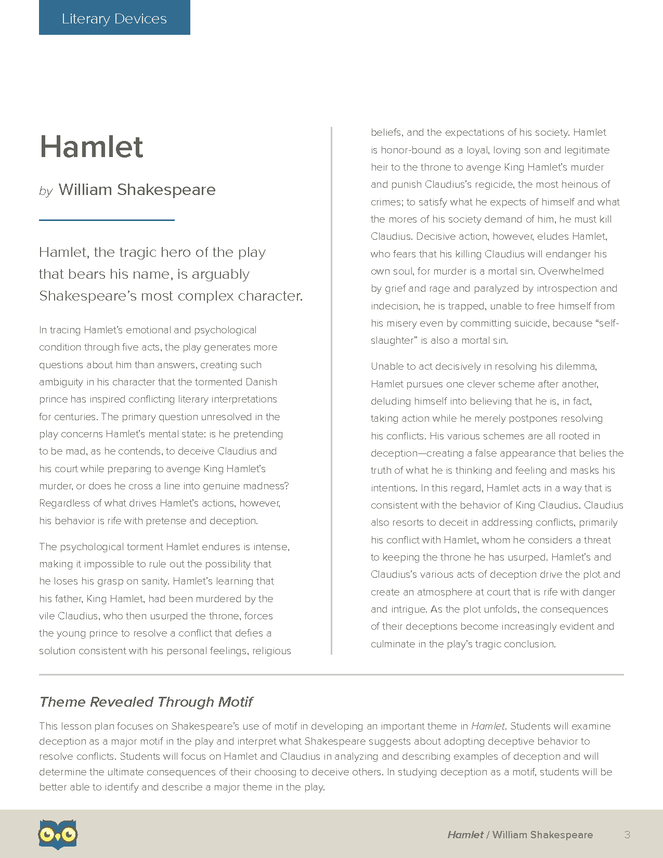 hamlet lit devices Plot overview in the first scene of hamlet, barnardo, a guard, comes to relieve  francisco, who is his colleague they are performing their duty as guards on the .