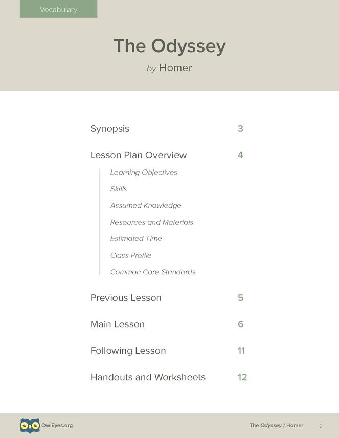 The Odyssey Vocabulary Lesson Plan Owl Eyes