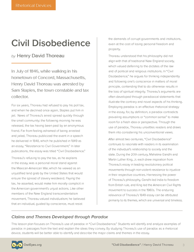 rhetorical analysis civil disobedience Scribd is the world's largest social reading and publishing site.