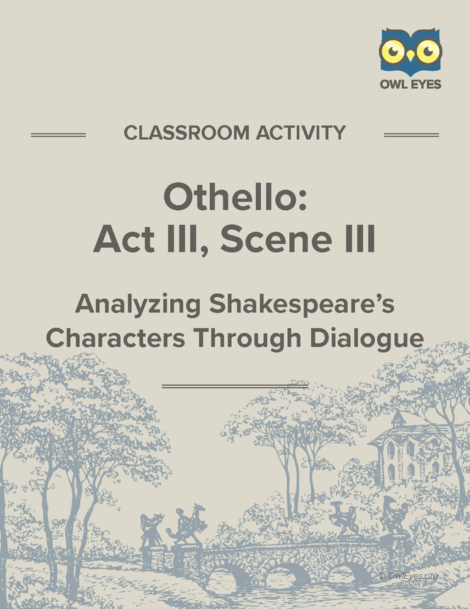 text analysis one othello s soliloquy act 3 discussion Internet shakespeare editions home  3although rymer's hostility to othello and his overt racism make  locating his discussion within an analysis of shifts in.