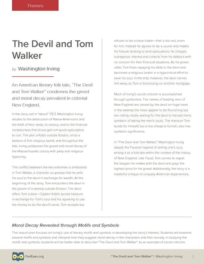 The Devil And Tom Walker Themes Lesson Plan Owl Eyes